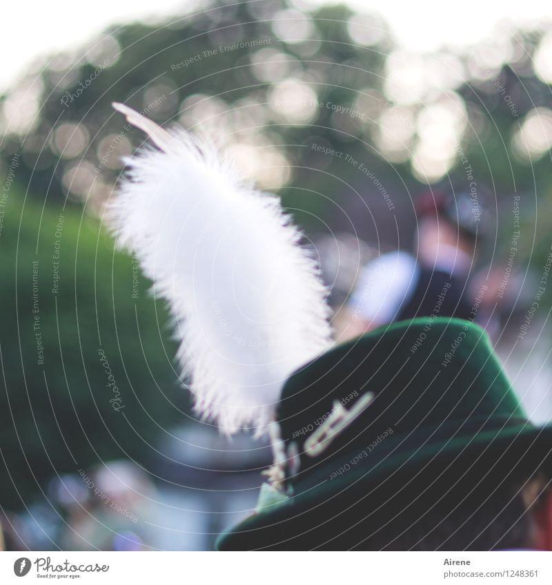 s'Hiaderl Mensch Jugendliche grün weiß Junger Mann Feste & Feiern Kopf maskulin Alpen Hut Bayern Tracht Filzhüte Federschmuck Volkstanz Dorffest