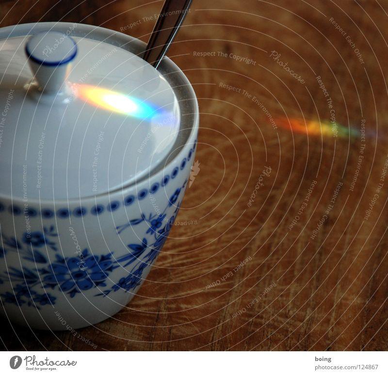 Zucker grün blau rot gelb Farbe Wassertropfen Hoffnung Küche Gastronomie Sehnsucht Strahlung Symbole & Metaphern Schneidebrett Kristallstrukturen Regenbogen Haushalt