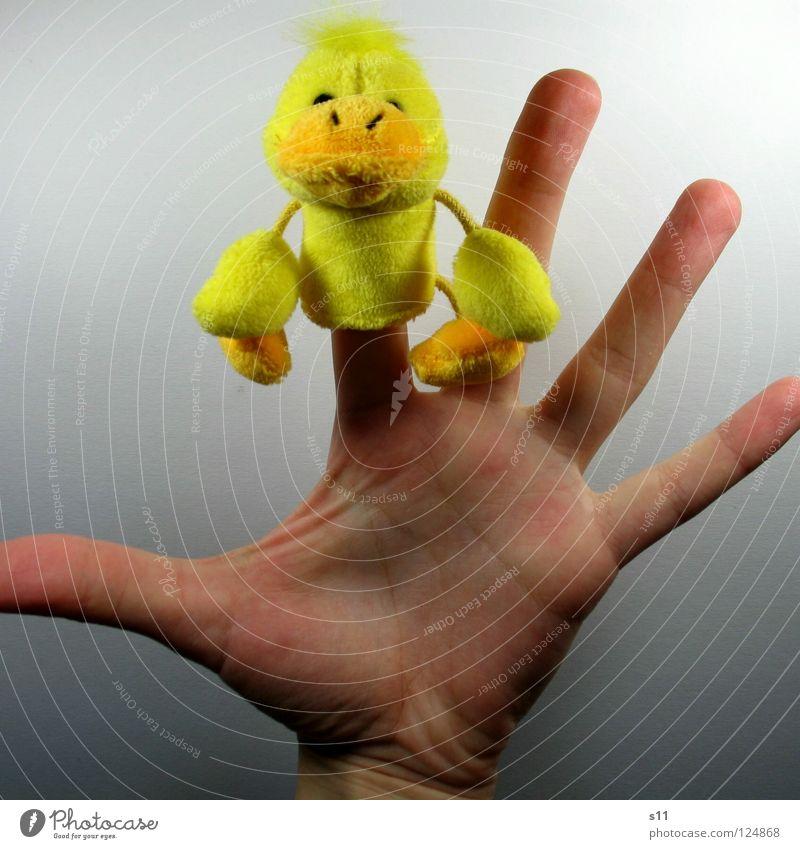 EntenShoot | Tataa... Hand Freude gelb Spielen Haare & Frisuren lustig Finger Spielzeug Kindheit Punk Ente Schnabel Fingernagel Schlafzimmer Stofftiere Kinderzimmer