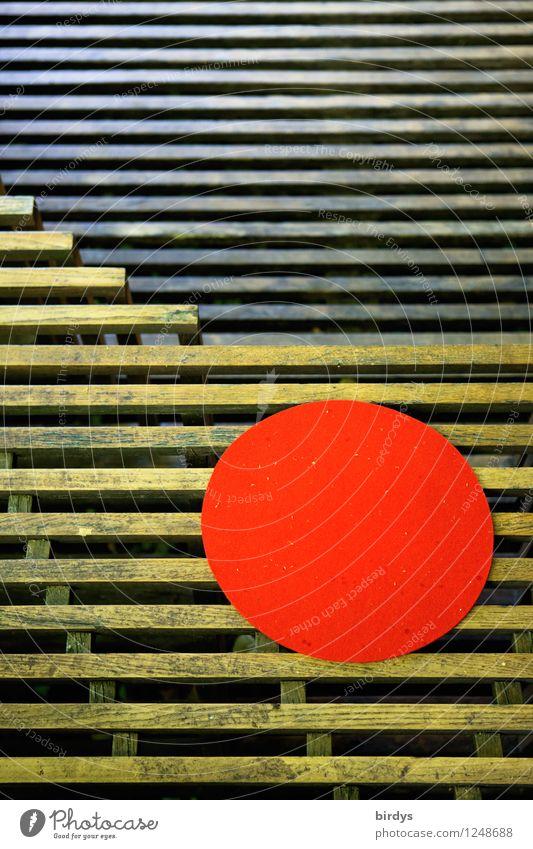 auf den Punkt Häusliches Leben Terrasse Sitzgelegenheit Holz Linie Kreis leuchten ästhetisch außergewöhnlich einzigartig positiv rund gelb rot Design Idee