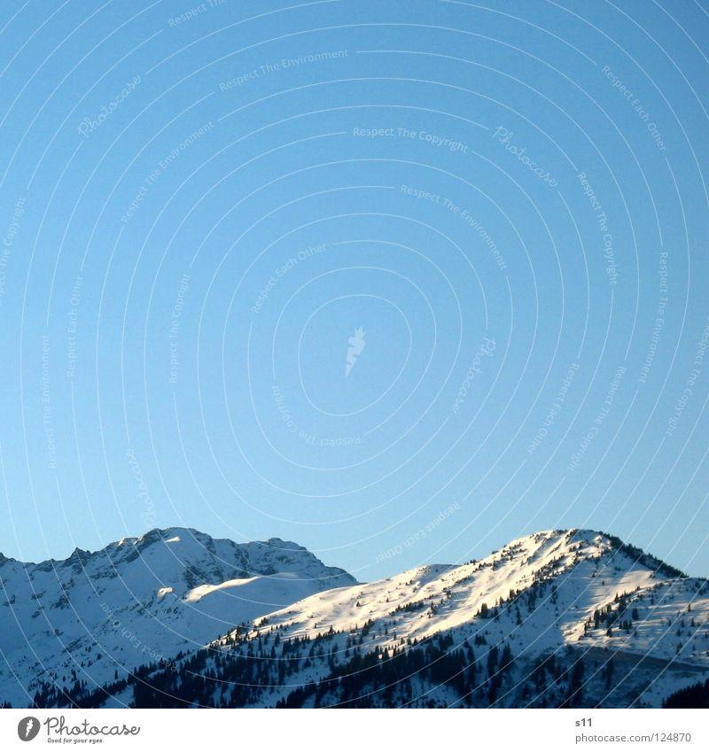 Schweizer Bergen Himmel blau weiß Baum Winter Wald kalt Schnee Berge u. Gebirge Wetter Schönes Wetter retten himmelblau azurblau Kanton Graubünden