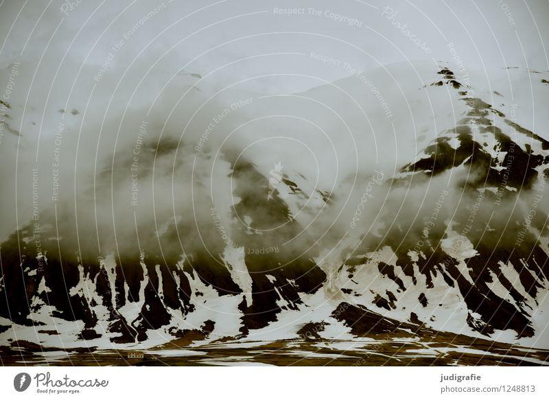 Island Umwelt Natur Landschaft Urelemente Wolken Klima schlechtes Wetter Berge u. Gebirge Schneebedeckte Gipfel bedrohlich dunkel kalt natürlich wild Stimmung