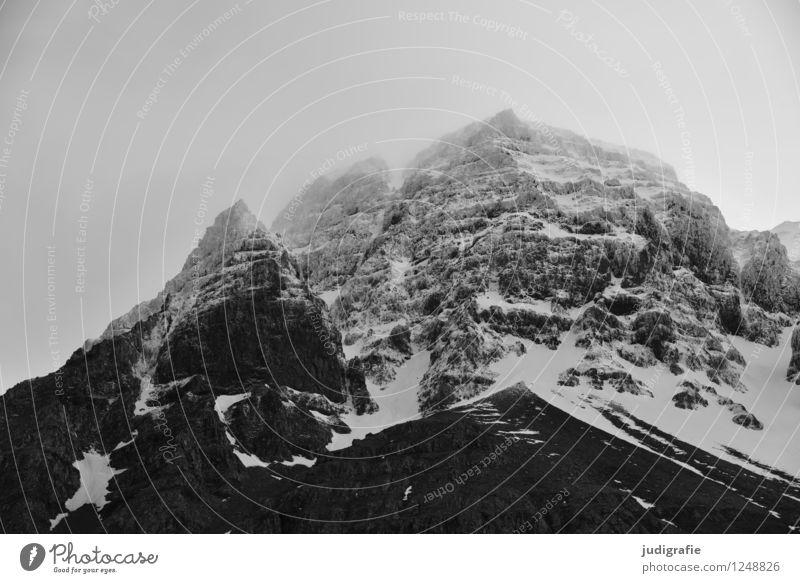 Island Umwelt Natur Landschaft Klima schlechtes Wetter Schnee Felsen Berge u. Gebirge Gipfel Schneebedeckte Gipfel bedrohlich dunkel gigantisch kalt natürlich