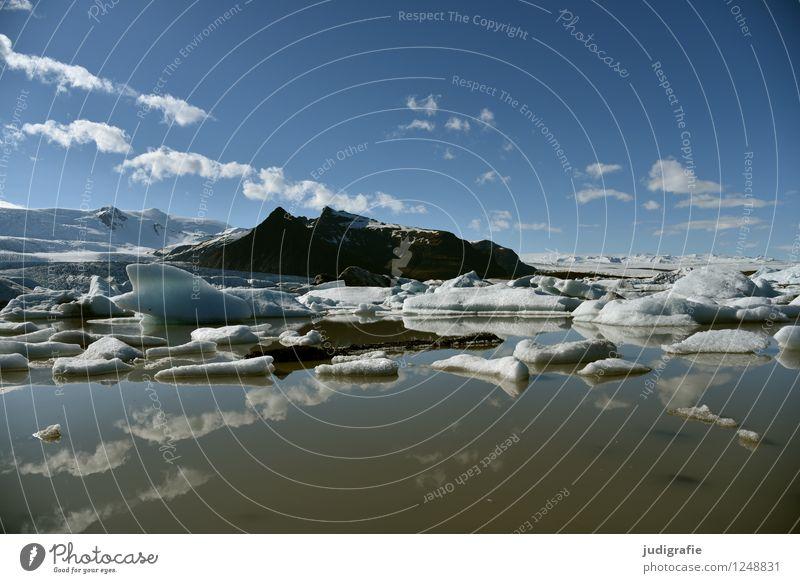 Island Umwelt Natur Landschaft Urelemente Wasser Himmel Klima Klimawandel Schönes Wetter Eis Frost Felsen Berge u. Gebirge Gletscher Gletschersee Fjallsarlon