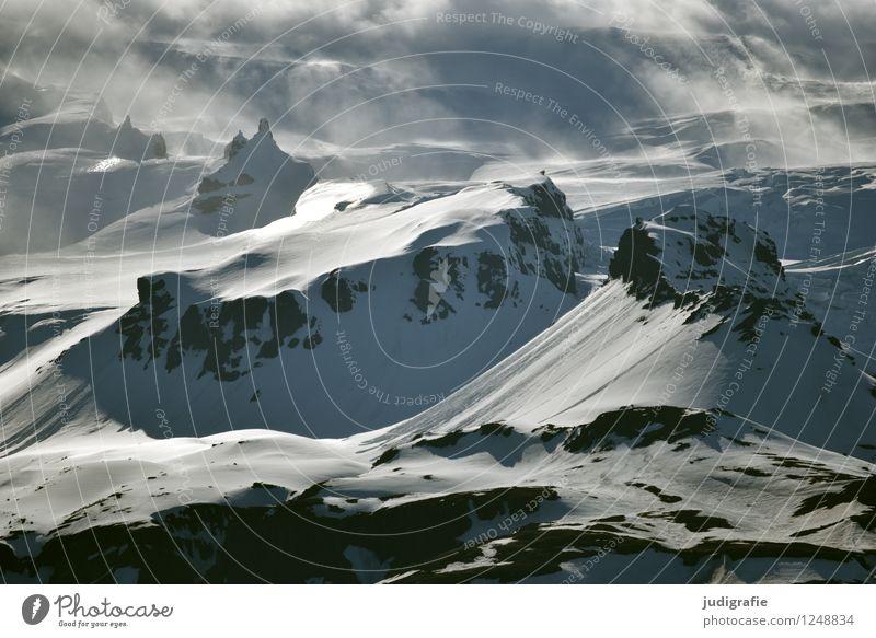 Island Umwelt Natur Landschaft Wolken Klima Wetter Nebel Eis Frost Schnee Felsen Berge u. Gebirge Schneebedeckte Gipfel Gletscher eckig gigantisch kalt
