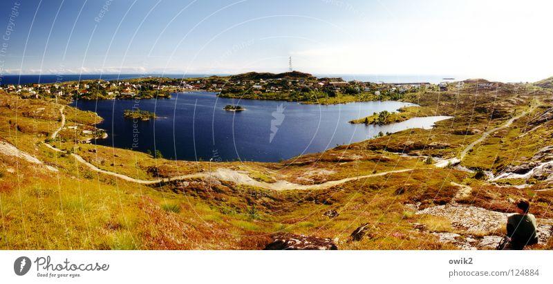 Überblick Mensch Frau Natur Pflanze Sommer Wasser Meer Landschaft Ferne Strand Erwachsene Umwelt Gras Küste Freiheit See