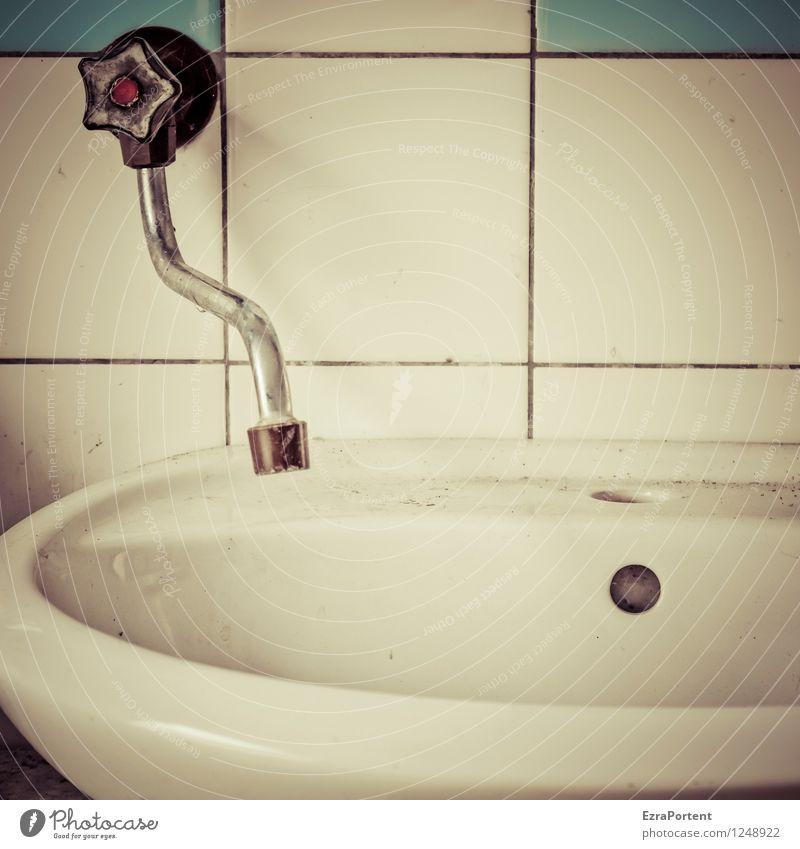 Badkultur Häusliches Leben Wohnung Renovieren einrichten Innenarchitektur Dekoration & Verzierung Raum Mauer Wand Linie dreckig blau grau Waschbecken Wasserhahn