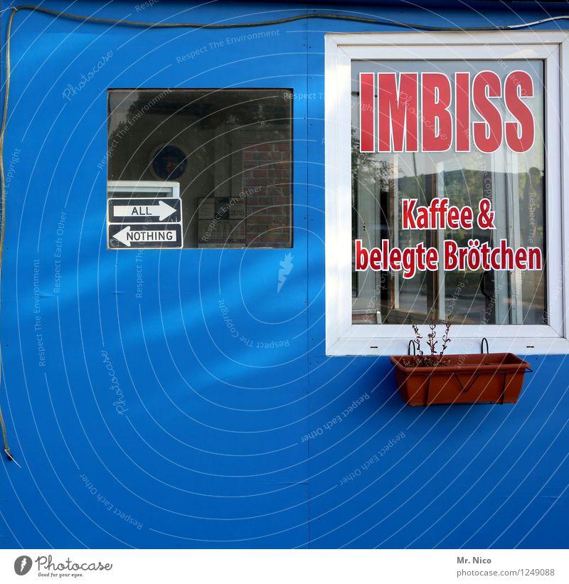 alles oder nichts ? blau Fenster Essen Schilder & Markierungen Ernährung geschlossen kaufen trinken Kaffee Pfeil Hütte Restaurant Appetit & Hunger Frühstück