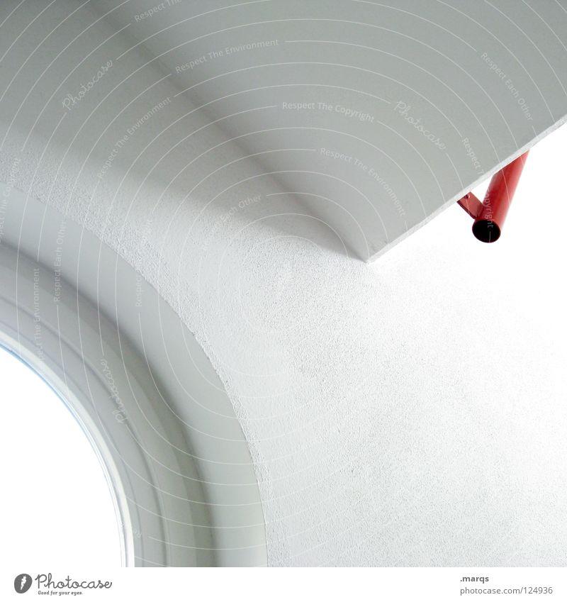 Clean weiß rot rund Ecke Licht abstrakt Sauberkeit dezent einfach aufräumen steril obskur Architektur Detailaufnahme white red Kreis Linie Schatten clean