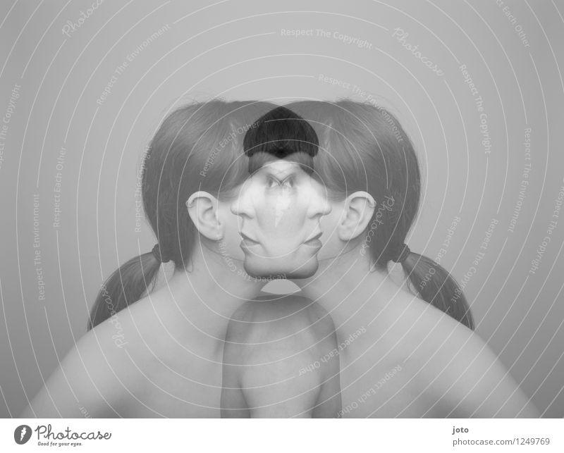 zwei seiten Mensch Frau Erwachsene Pony Zopf Hoffnung Schmerz Sehnsucht Scham Verzweiflung verstört gleich Identität Krise Surrealismus Symmetrie Trennung