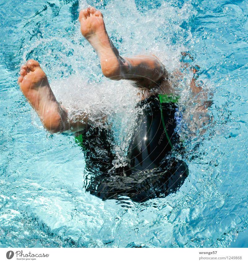Wendepunkt Mensch Mann blau grün Sommer schwarz Erwachsene Leben Sport Schwimmen & Baden maskulin elegant Fitness Schwimmbad Schwimmsport sportlich