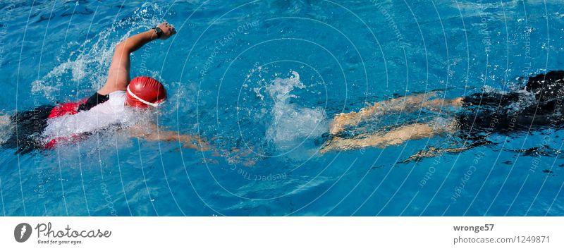 Triathlon Sport Sportveranstaltung Schwimmsport Schwimmen & Baden Schwimmbad Mensch maskulin 2 sportlich blau rot schwarz weiß Schwimmsportler Sportler
