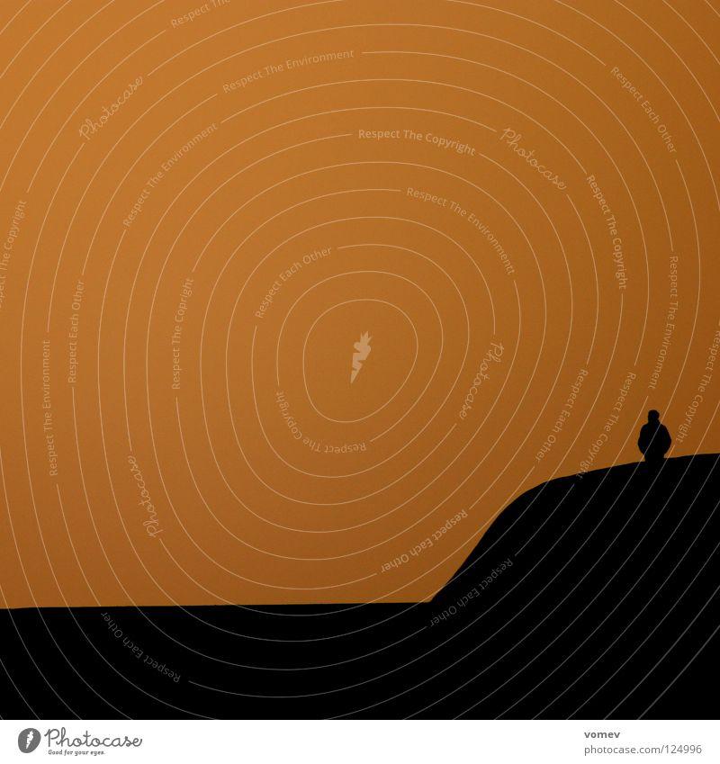Wellenbrecher Meer Einsamkeit schwarz Küste Stimmung orange Buhne