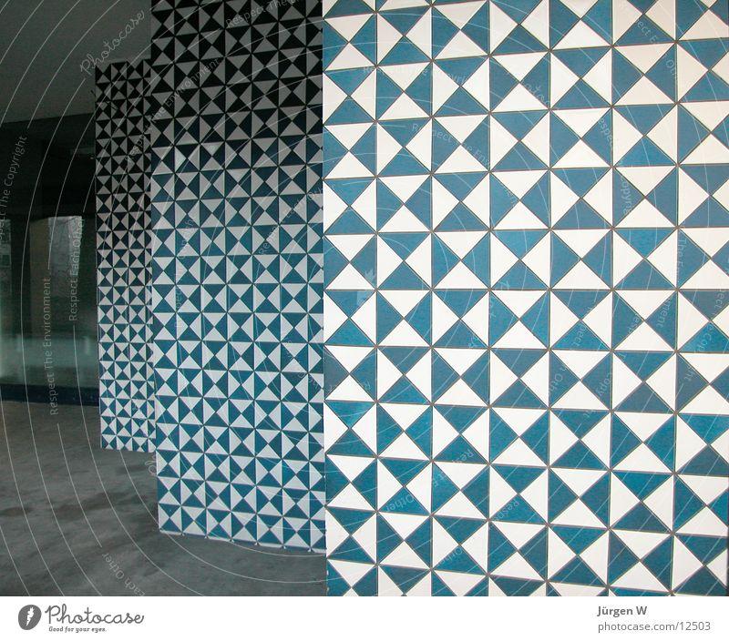 kleinkariert 2 penibel Haus Wand Muster weiß Architektur Fliesen u. Kacheln blau smallcross-hatched tiles sample white blue Mauer