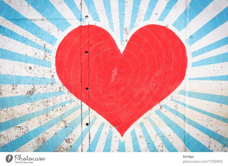 herzlich schön Farbe weiß rot Liebe Graffiti Glück außergewöhnlich Kunst leuchten ästhetisch groß Herz Beton Lebensfreude Warmherzigkeit
