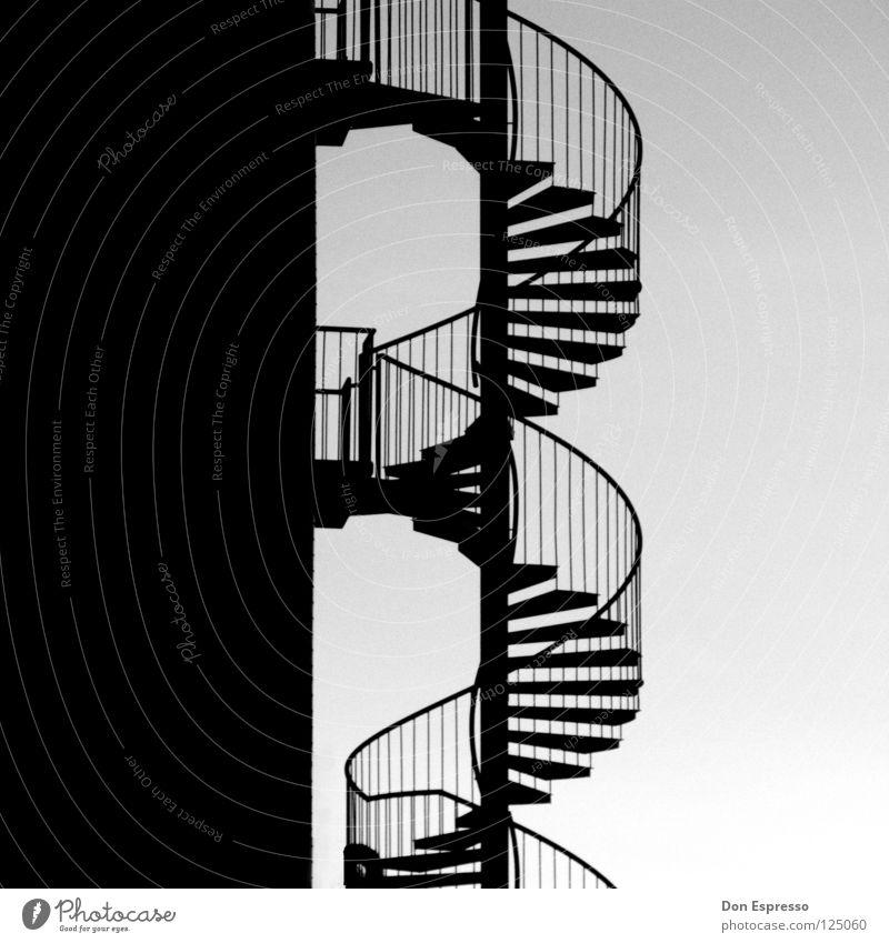 Helix_Noir graphisch Wendeltreppe drehen Detailaufnahme Schwarzweißfoto Geländer Treppe Schnecke Kontrast Grafik u. Illustration Wege & Pfade biegen Spirale