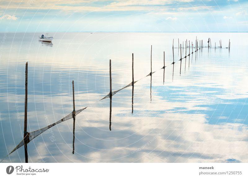 Fischen am Fjord Ferien & Urlaub & Reisen blau schön Sommer weiß ruhig Arbeit & Erwerbstätigkeit Tourismus Idylle authentisch weich Gelassenheit fangen