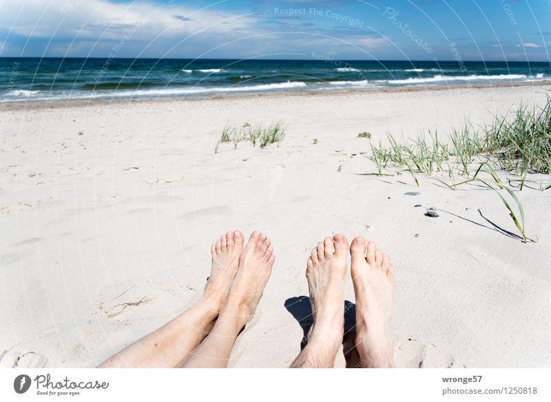 Strandfüße Mensch Frau Himmel Ferien & Urlaub & Reisen Mann Sommer Erholung Meer Wolken Strand Erwachsene feminin Beine Fuß Horizont maskulin