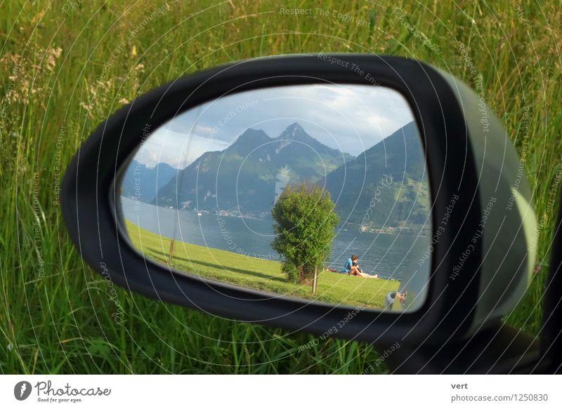 Pause am See Himmel Natur Ferien & Urlaub & Reisen Sommer Wasser Erholung Landschaft Frühling Wiese Gras Glück Schwimmen & Baden Paar PKW Idylle