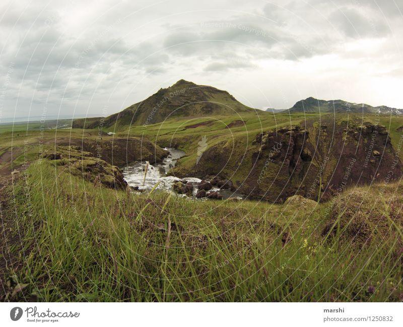 am Ende kommt der Wasserfall Natur Landschaft Tier Wolken Sommer Wetter Berge u. Gebirge Vulkan Schlucht Fluss Stimmung Island grün Ferne Reisefotografie bergig