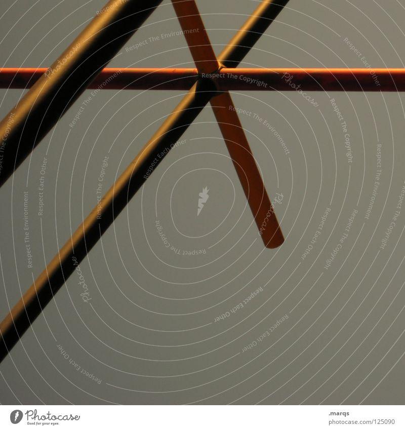 /* kreuzen sehr wenige quer Geometrie eigenwillig abstrakt rot gelb grau obskur Linie Rücken Stern (Symbol) x - _ | \ Strukturen & Formen Baugerüst abstrahiert