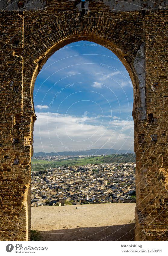 das alte Tor II Umwelt Himmel Wolken Horizont Sommer Wetter Schönes Wetter Pflanze Baum Wald Fes Marokko Afrika Stadt Altstadt Haus Ruine Bauwerk Gebäude Tür