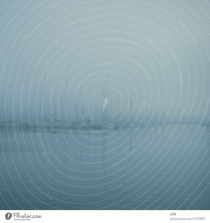 NEBEL III Wasser Meer ruhig Ferne Erholung kalt Landschaft Wasserfahrzeug Nebel Wassertropfen schlafen liegen Perspektive Pause Hafen Tee