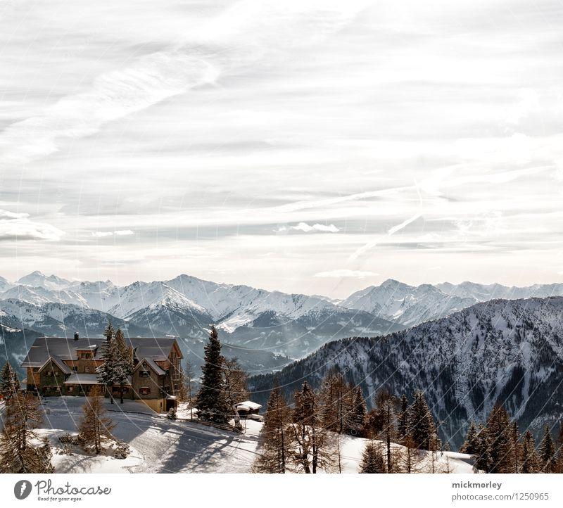 Skihütte & Gipfelpanorama Ferien & Urlaub & Reisen schön Erholung Landschaft Einsamkeit ruhig Winter Berge u. Gebirge Umwelt Leben Bewegung Schnee Denken Tourismus wandern Abenteuer