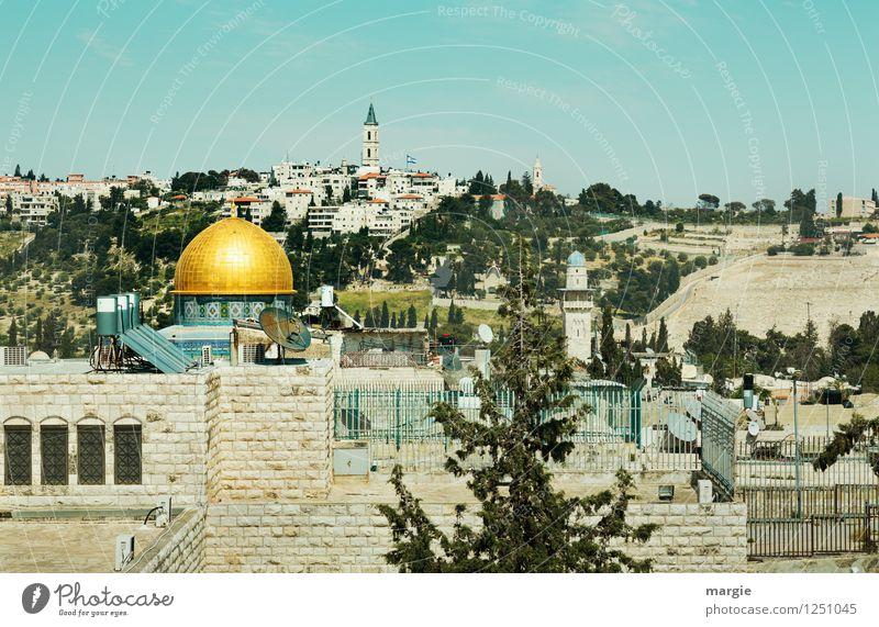 Blick auf den Felsendom von Jerusalem Ferien & Urlaub & Reisen Tourismus Ferne Freiheit Sightseeing Städtereise Kultur Israel Kirche Dom Bauwerk Gebäude Moschee