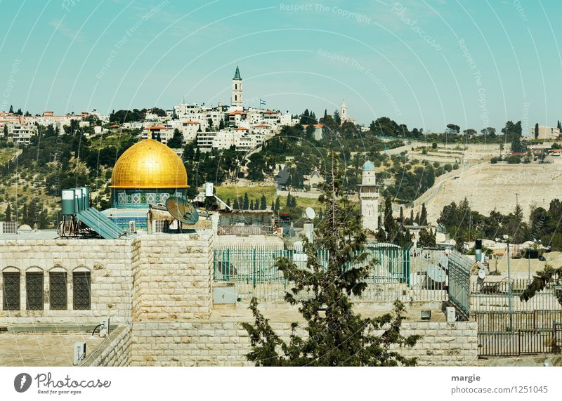 Felsendom Jerusalem I Ferien & Urlaub & Reisen blau Ferne Gebäude Religion & Glaube Freiheit Tourismus gold Kirche Kultur Bauwerk Frieden Wahrzeichen