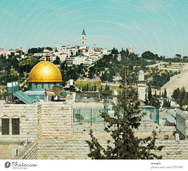 Felsendom Jerusalem II Ferien & Urlaub & Reisen blau grün Haus Ferne Architektur Gebäude Religion & Glaube Freiheit Tourismus gold Gold Kultur Hoffnung Bauwerk