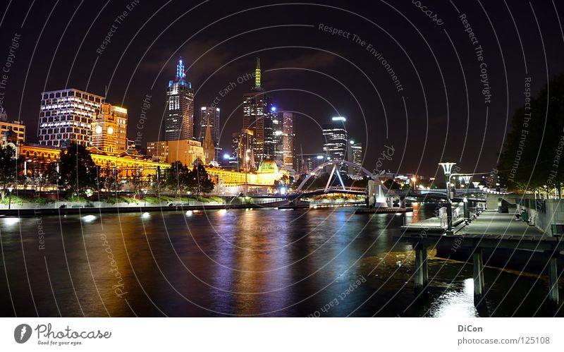 Yarra-River Melbourne Yarra Fluss Nacht Licht Stadt Hochhaus dunkel Gesellschaft (Soziologie) Tourismus beeindruckend Australien Reflexion & Spiegelung
