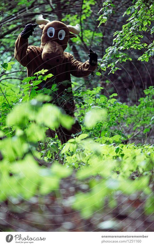 Unterholz Rowdy Jugendliche grün Freude Tier Wald Kunst ästhetisch Jugendkultur Aggression Kunstwerk Kostüm Karnevalskostüm spaßig Spaßvogel Fremder Elch