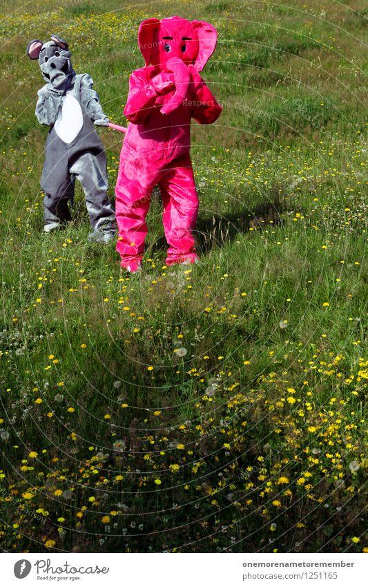 Grabscher II Freude Wiese Spielen grau Kunst rosa verrückt ästhetisch Kreativität Symbole & Metaphern festhalten Kunstwerk Maus Ärger Schwanz Elefant
