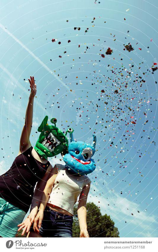 Der Kreis schließt sich Jugendliche Freude lustig feminin Feste & Feiern Kunst Party Zusammensein ästhetisch Weltall Maske Feiertag werfen Kunstwerk Konfetti friedlich