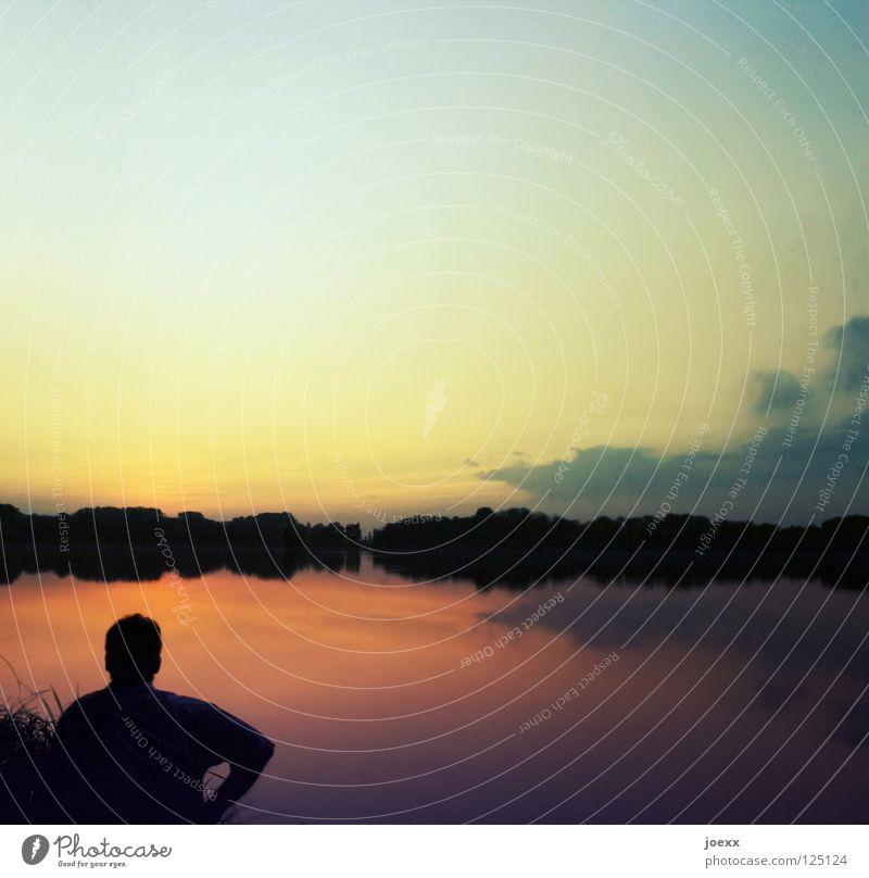An…denken Mann Natur Wasser Baum rot Ferien & Urlaub & Reisen ruhig Einsamkeit Ferne dunkel Erholung Freiheit Kopf Traurigkeit See Denken