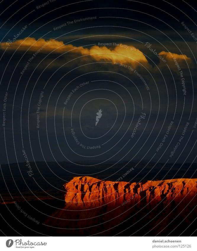 Sonnenuntergang Himmel Natur Ferien & Urlaub & Reisen blau rot Wolken Berge u. Gebirge gelb Hintergrundbild grau Stein Felsen orange Wetter USA