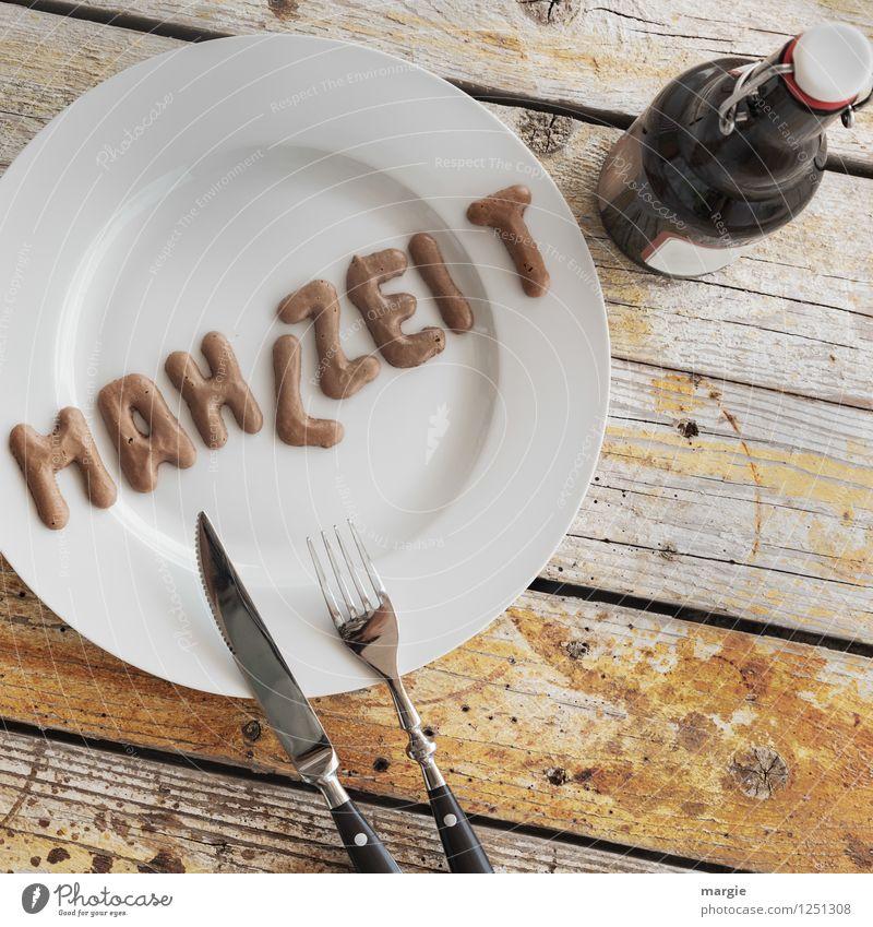 MAHLZEIT Essen Lebensmittel Schriftzeichen Ernährung Tisch Getränk Kochen & Garen & Backen Buchstaben Bier Appetit & Hunger Geschirr Teller Flasche Mahlzeit