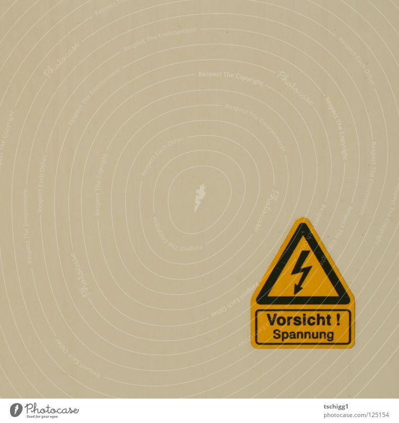 """Sag: """"Atomstrom"""" weiß Elektrizität elektrisch gelb Dreieck Elektrisches Gerät Technik & Technologie Warnhinweis Vorsicht Kasaten"""