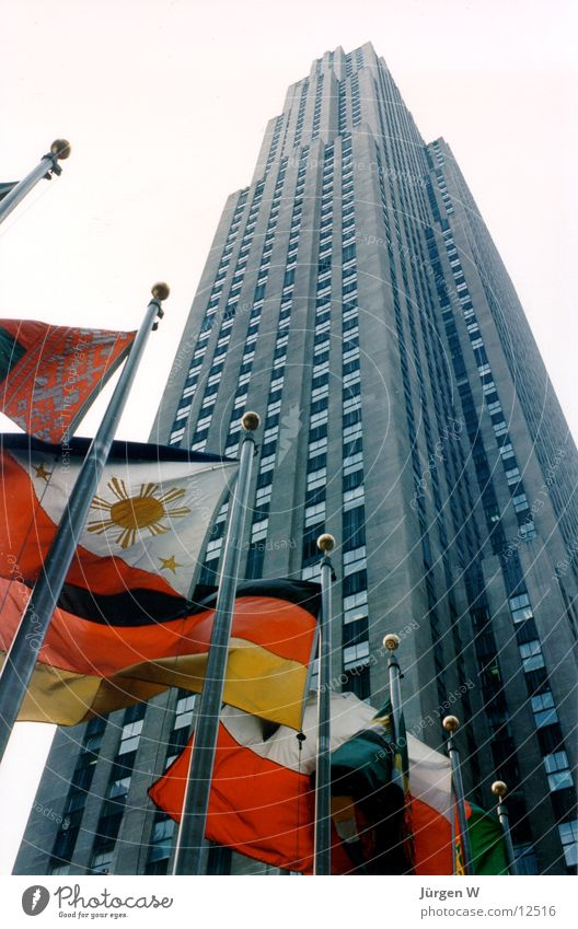 Rockefeller Center, 1989 New York City Fahne Hochhaus Architektur USA architecture flag building