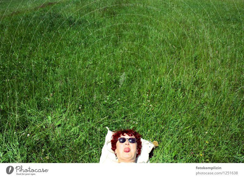 frech-cool madame im gras Mensch Frau Erholung Freude Erwachsene Leben Wiese natürlich feminin lustig Kopf liegen Zufriedenheit authentisch Perspektive