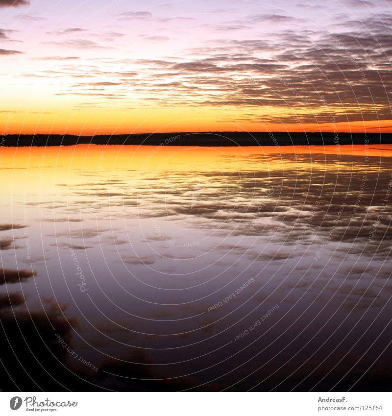Abendhimmel Natur Wasser Himmel Sonne Sommer Strand Ferien & Urlaub & Reisen Wolken See Landschaft orange Küste Horizont Romantik Angeln