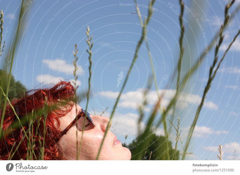 sonnen_schlaf 1 Wohlgefühl Sinnesorgane Erholung ruhig Sommer Sonnenbad feminin Frau Erwachsene Kopf Gras Sonnenbrille genießen liegen natürlich Lebensfreude