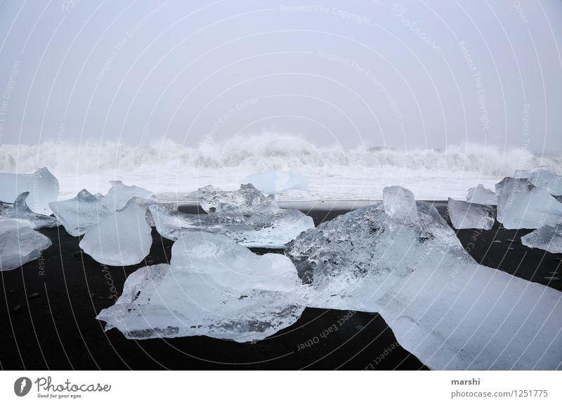 Eiswelten III Natur Landschaft Winter Frost Gletscher Wellen Küste Strand Bucht Meer Insel Stimmung Jökulsárlón Island Reisefotografie Macht gewaltig