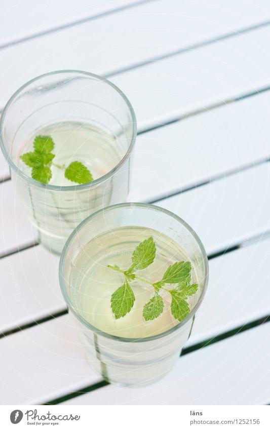 sommerlich Sommer Wasser Tisch Getränk gestreift Minze
