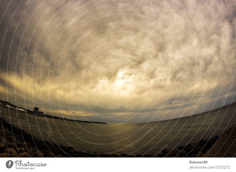 Mächtige Wolke Wasser Meer Landschaft Wolken Ferne Stein Horizont Luft Energie