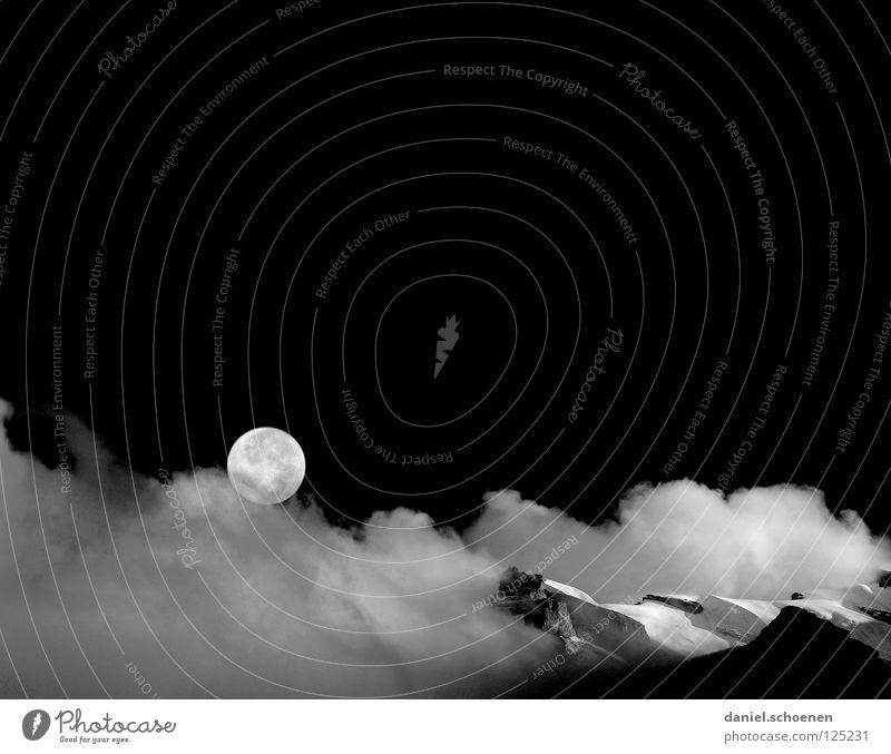 schwarzweißer Vollmond Himmel weiß schwarz Wolken Farbe kalt Schnee Berge u. Gebirge Luft Eis wandern Nebel Hintergrundbild Wetter Freizeit & Hobby Klima