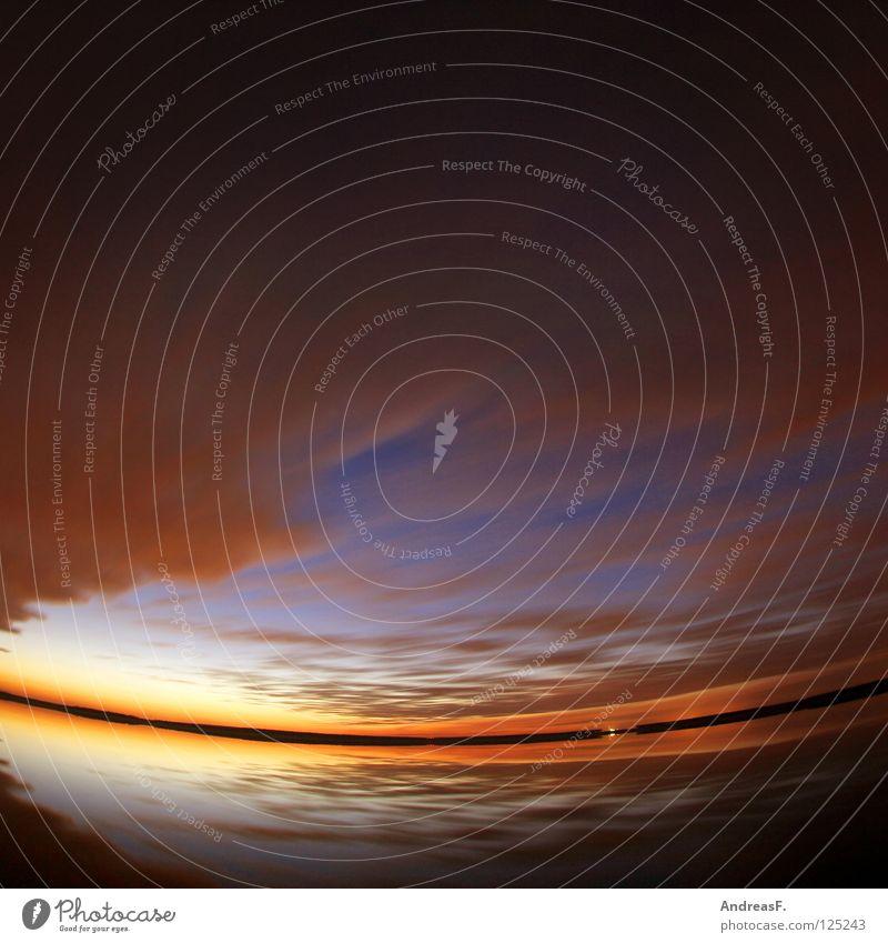 Stück Urlaub See Abend Abenddämmerung Ferien & Urlaub & Reisen Horizont Sonnenuntergang Dämmerung Reflexion & Spiegelung Wasseroberfläche Romantik Wolken Sommer