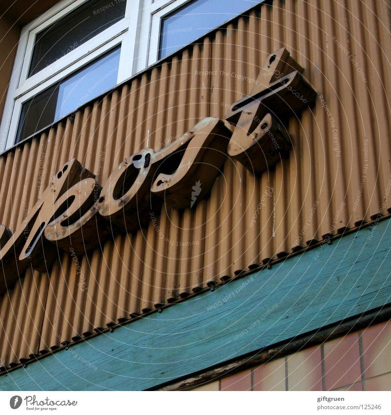 esst mehr obst! alt Ernährung Fenster Frucht Fassade Schriftzeichen Kochen & Garen & Backen Buchstaben Gemüse Typographie früher Delikatesse Beschriftung