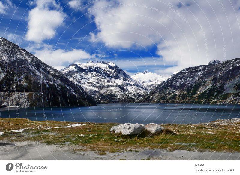 Berg-Idylle blau ruhig Wolken Erholung Berge u. Gebirge See